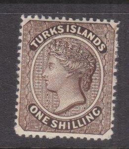 TURKS ISLANDS, 1887 1s. Sepia, lhm.