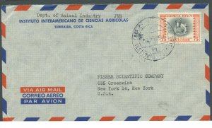 COSTA RICA TURRIALBA 8/12/1957 AIRMAIL COVER TO NEW YORK AS SHOWN