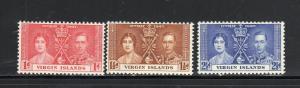VIRGIN ISLANDS #73-75  1937 CORONATION ISSUE        MINT VF LH O.G