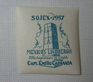 1957 SOJEX Mexico's Lindbergh 30th Anniv of Flight Souvenir Capt Emilio Carranza