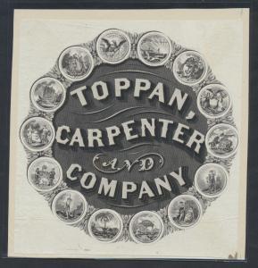 TOPPAN, CARPENTER & Co. PROOF ON INDIA W/ 14 DIFF. VIGNETTES -- RARE -- BR1113