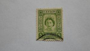 STAMP OF CEYLON USED HINGED SC # 317