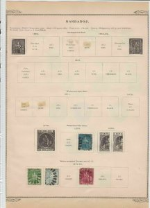 barbados early stamps  on album page ref r11421