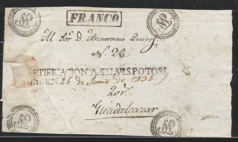 J) 1853 MEXICO, SAN LUIS POTOSI, CERTIFICATION HANDSTAMPS DATING ON REGISTERED F