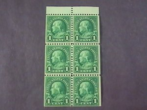 U.S.# 552a-MINT/HINGED-BOOKLET PANE OF 6--DEEP GREEN--FRANKLIN--1923
