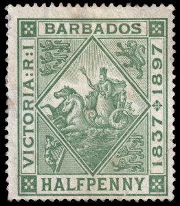 Barbados - Scott 82 - Mint-Hinged - Dirty Front - Dirty Back - Crease