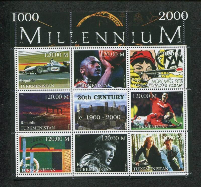 Turkmenistan Commemorative Souvenir Stamp Sheet - 20th Century Millennium