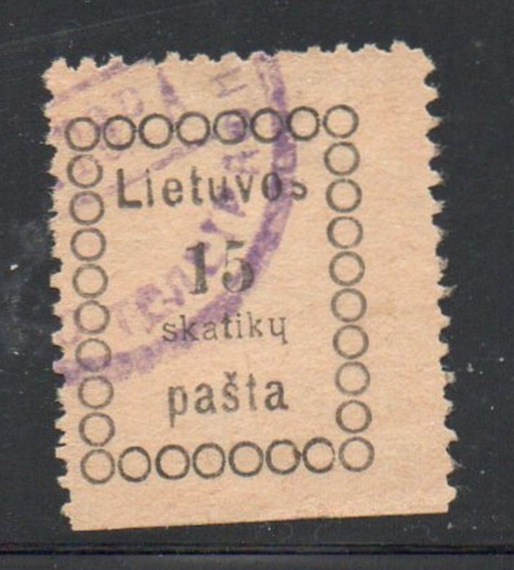 Lithuania Sc 4 1918 15 sk stamp 2nd Vilnius printing used