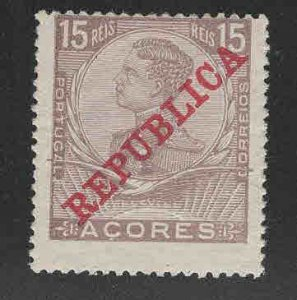 Azores  Scott 129 MH* REPUBLICA overprint stamp