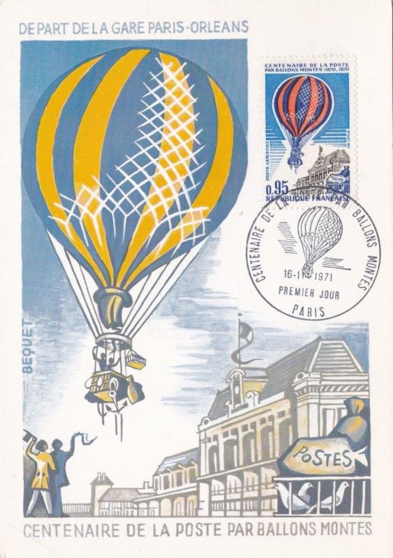 France 1971 Centenary of Baloon Post Maxim Card Unused VGC