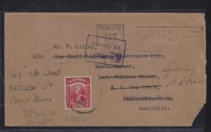SARAWAK POSTAL HISTORY (P1509B) COVER  1941 8C CENSOR MIRI TO AUSTRALIA