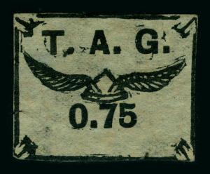 FRENCH GUIANA 1921 AIRMAIL - T.A.G. 75c black, bluish Sc# CL4  mint MH - SCARCE