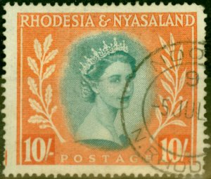 Rhodesia & Nyasaland 1954 10s Dull Blue-Green & Orange SG14 Good Used