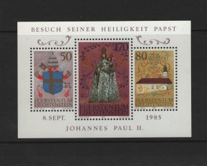 LIECHTENSTEIN 816 Souvenir Sheet, Used, 1985 State Visit of Pope John Paul II