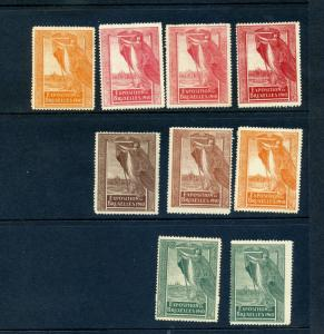 9 VINTAGE 1910 BRUSSELS EXPO POSTER STAMPS (L855) BELGIUM