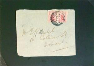 New Zealand 1907 1p Pair Cover to Hobart / 1 Punch Hole - Z2657