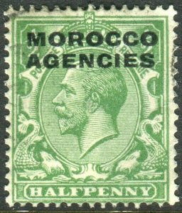MOROCCO AGENCIES-1925-36 ½d Green TYPE 8 OVERPRINT.  A fine used example Sg 55
