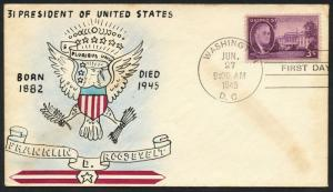 #932-48c ROOSEVELT ON WEIGAND HANDPAINTED FDC JUNE 27,1945 BT9592