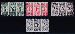 SOUTH AFRICA  1943 - 44  S G D30 - D33 POSTAGE DUE SET 4 M H CAT £75