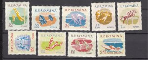 J27569 1959 romania set mh #1288-95,c72 sports