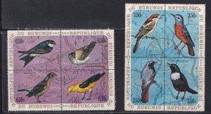 Burundi # 339, 342, C132-137, Birds Blocks of 4, CTO, 1/3 Cat.
