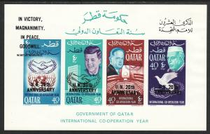 1966 Qatar UN 20th Anniversary Hammarskjold Kennedy Nehru MNH O/P S/S Sc# 101Ha