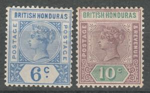 BRITISH HONDURAS 1891 QV 6C AND 10C