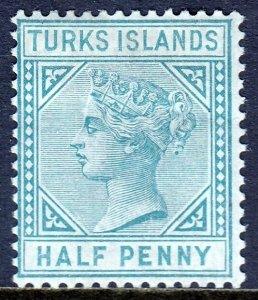 TURKS ISLANDS — SCOTT 48a (SG 53) — 1882 QV ½d BLUE GREEN — MH — SCV $20.00