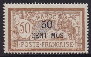 FRENCH MOROCCO 1902 MERSON 50 CENTIMOS  ON 50C