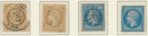 France Stamps, Napoleon Issues Four Varieties, 10c & 20c Two Each - Free U.S....
