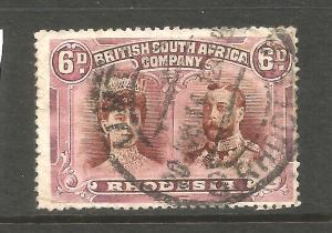 RHODESIA  1910-13  6d  DOUBLE HEAD  FU P15  SG 176