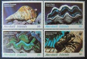 marshall islands 1986 WWF marine life 4 values mnh crustations shells