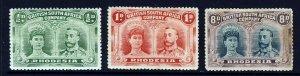 RHODESIA KG V 1910-13 Double Head Perf. 14 Group SG 119, SG 125 & SG 148 MINT