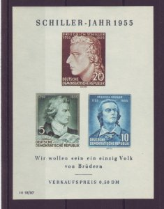 Z541 Jlstamps 1955 germany ddr s/s mnh #243a schiller quanity avail