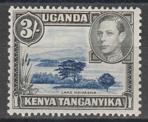 KENYA UGANDA TANGANYIKA 1938 KGVI LAKE  3/- PERF 13 X 11.75