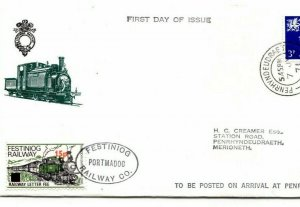 GB WALES REGIONAL Cover FESTINIOG RAILWAY *15p* Surcharge Letter Stamp FDC BK83