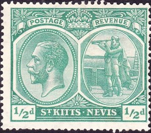 ST KITTS-NEVIS 1920 KGV ½d Blue-Green SG24 MH