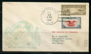 US LOS ANGELES 7/12/40 FAM 19 1ST FLIGHT SOUTH PACIFIC TO HONOLULU, HI AS SHOWN