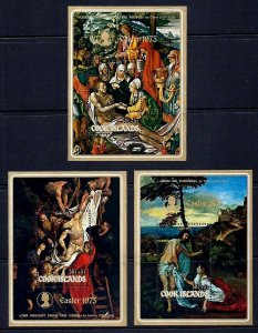 COOK IS - 1973 - EASTER - PAINTINGS - TITIAN - RUBENS - DURER  3 X MNH S/SHEETS!