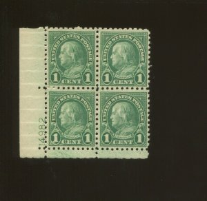 United States Postage Stamp #581 MNH VF Plate No. 14982 Block of 4