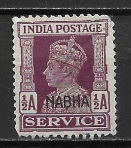 India - Convention States Nabha o42 1/2A KGVI single Used