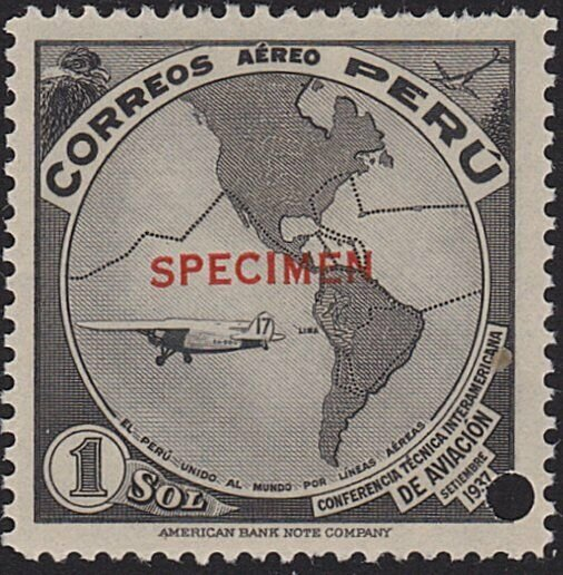 PERU 1937 1s Airmail SPECIMEN opt in red + security punch hole .............7947