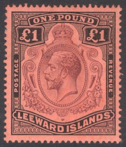 Leeward Is 1928 £1 Purple & Black on red SG 80 Scott 83 LMM/MLH Cat £225($292)