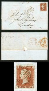 1841 Penny Red (PH) Four Margins on Cover with PL handstamp