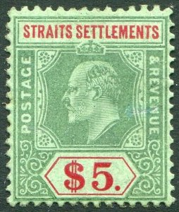 STRAITS SETTLEMENTS-1909 $5 Green & Red/Green Sg 167 MOUNTED MINT V50197