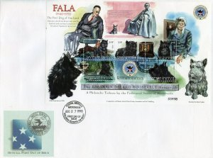 MICRONESIA 1998 FALA SHEET WITH FDR AND ELEANOR ROOSEVELT FIRST DAY COVER