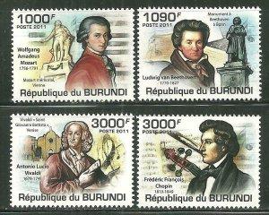 Burundi MNH 971-4 Composers 2011 SCV 12.50