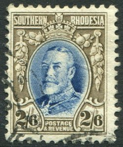 SOUTHERN RHODESIA-1931-37 2/6 Blue & Drab Perf 11½ Sg 26a GOOD USED V48913