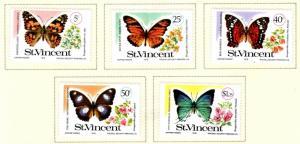 St Vincent Scott 523-527 MH* 1978 Butterfly set