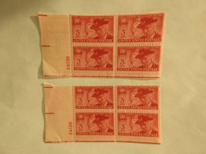 U. S. #985  Two MINT corner blocks w/ same sheet number  OG NH